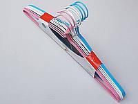 Плечики вешалки тремпеля металлический в полиэтиленовом покрытии микс цветов, длина 40 см, в упаковке 10 штук