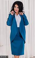 Женский костюм с юбкой карандаш длины миди и жакетом с блузкой обманкой костюмный креп креп шифон батал