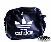 Модная сумка на плечо Adidas (горизонт) черная иск. кожа, фото 1