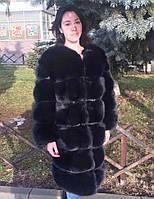 Шуба из меха польского песца чёрного цвета 105 см
