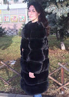 Шуба из меха польского песца чёрного цвета 105 см, фото 1