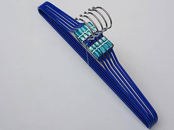 Плечики вешалки тремпеля  металлический в силиконовом покрытии синего цвета, длина 40 см, в упаковке 5 штук, фото 2