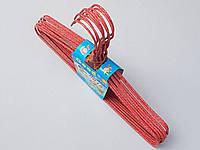 Плечики вешалки  тремпеля проволока в порошковой покраске красного цвета, длина 29,5 см, в упаковке 10 штук
