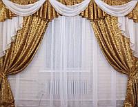 Комплект ламбрекен  со шторами на карниз 3м. №68, цвет коричневый 068лш036