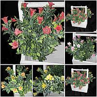 Искусственные цветы - красный мелкоцветик из пластика, выс. 36 см., 45/38 (цена за 1 шт. + 7 гр.)