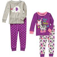 Пижама детская девочке комплект 4 вещи хлопок пижамы размеры 24мес слип