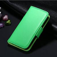 Зеленый чехол-книжка для iPhone 5/5S из эко-кожи