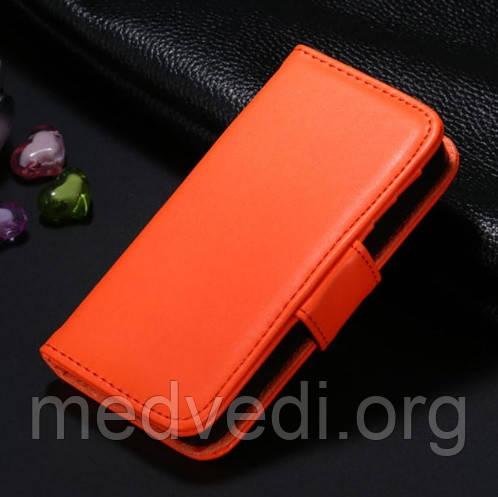 Оранжевый чехол-книжка для iPhone 5/5S из эко-кожи