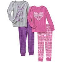 Детская пижама девочке  комплект 4 вещи  хлопок  пижамы размеры 2года  3года слип