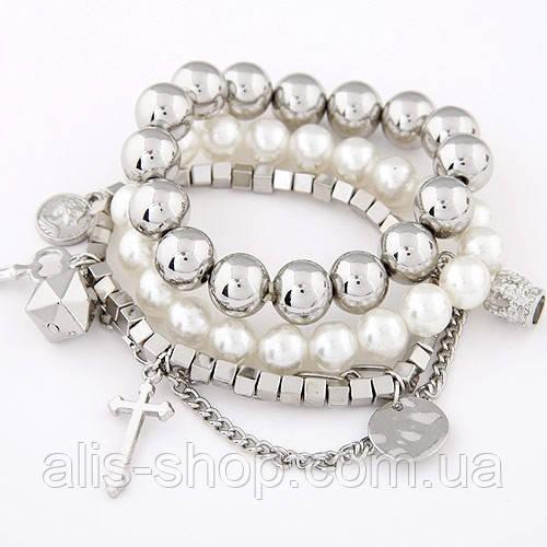 Набор браслетов жемчуг, серебряные бусины, подвески