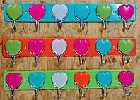 Вешалка,- Сердце, 6 крючков.Пластик + металл.
