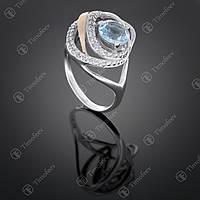 Серебряное кольцо с топазом и фианитами. Артикул П-402