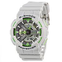Мужские (женские) спортивные наручные часы Casio G-Shock ga-110 серый+зеленый - AAA копия, полный комплект