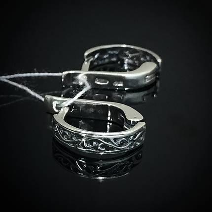 Серебряные серьги с орнаментом, фото 2