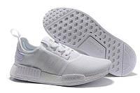 "Кроссовки мужские Adidas NMD R1 Mesh Monochrome Pack ""Triple White"". кроссовки адидас"