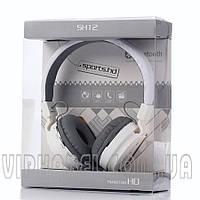 Наушники беспроводные bluetooth + FM приемник + mp3 плеер Sh12 white