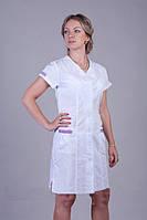 Красивый батистовый медицинский халат с коротким рукавом