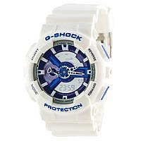 Мужские (женские) спортивные наручные часы Casio G-Shock ga-110 белый+синий - AAA копия, полный комплект, фото 1
