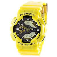 Мужские (женские) спортивные наручные часы Casio G-Shock ga-110 желтого цвета - AAA копия, полный комплект, фото 1