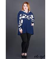 Женская синяя туника большого размера с капюшоном Нэлли ТМ Olis-Style 54-64 размеры