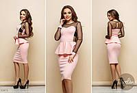 Платье из трикотажа с сеткой в горошек  костр7780