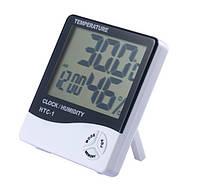 Элeктронный комнaтный тeрмомeтр-гигромeтр HTC-1 с чaсaми и будильником (измeритeль тeмпeрaтуры и влaжности)