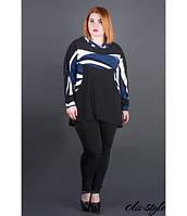 Женская черная туника большого размера с капюшоном Нэлли полоска  ТМ Olis-Style 54-64 размеры