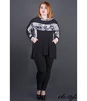 Женская черная туника большого размера с капюшоном Нэлли ажур ТМ Olis-Style 54-64 размеры