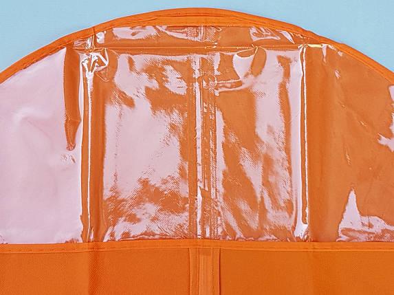 Чехол для хранения и упаковки одежды на молнии флизелиновый  оранжевого цвета. Размер 60 см*110 см., фото 2