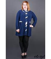 Женская синяя туника большого размера Жаннет полоска ТМ Olis-Style 54-64 размеры