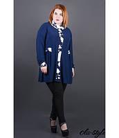 Стильная синяя туника большого размера Жаннет ТМ Olis-Style 54-64 размеры