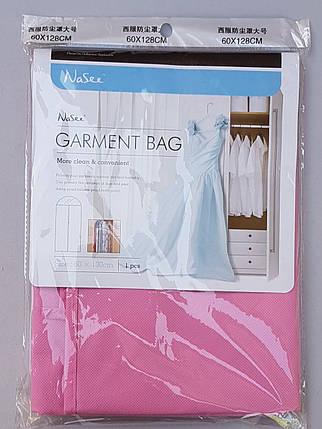 Чехол для хранения и упаковки одежды на молнии флизелиновый розового цвета. Размер 60 см*130 см., фото 2