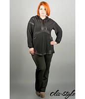 Черная женская туника большого размера Адэлла  ТМ Olis-Style 56-64 размеры