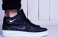 Кроссовки мужские низкие черные Nike Air Force Flyknit High g&w (найк аир форс, реплика)