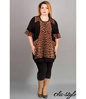 Батальная женская туника Энели леопард ТМ Olis-Style 54-64 размеры