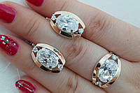Ювелирные серебряные украшения с золотом и зелеными камнями