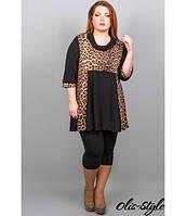 Женская черная туника большого размера с леопардовым принтом Кэтти ТМ Olis-Style 54-60 размеры