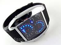 Часы мужские - Спидометр - серебристы корпус и черный ремешок, фото 1