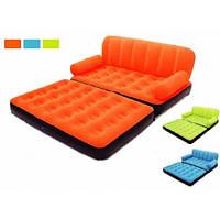 Надувной диван трансформер Bestway 67356 велюр с электронасосом 220V (3 цвета)