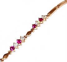 Браслет ХР, цвет:позолота с красным оттенком. Камни:малиновый и белый циркон.Длинна 17-21 см.Ширина 3 мм.