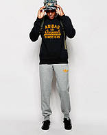 Мужской Спортивный костюм Adidas Originals чёрно-серый