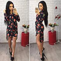 Женское модное платье-рубашка  с цветочным принтом (4 цвета)