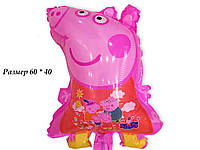 Воздушный шарик свинка Пеппа розовая 60 х 40 см из полимерной пленки