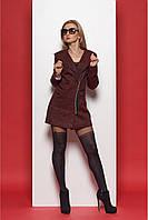 Бордовое пальто из ткани букле