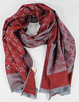 Кашемировый палантин Louis Vuitton бордово-серый двусторонний