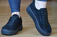 Мокасины, кеды, кроссовки на платформе в стиле Puma черные 2017. Со скидкой