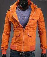 Мужская джинсовая куртка оранжевого цвета