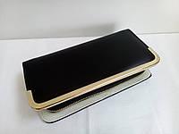 Большой лаковый кошелек черного цвета, фото 1