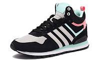 Женские высокие кроссовки Adidas 10XT WTR MID Black White Pink (адидас 10 ХТ) черные