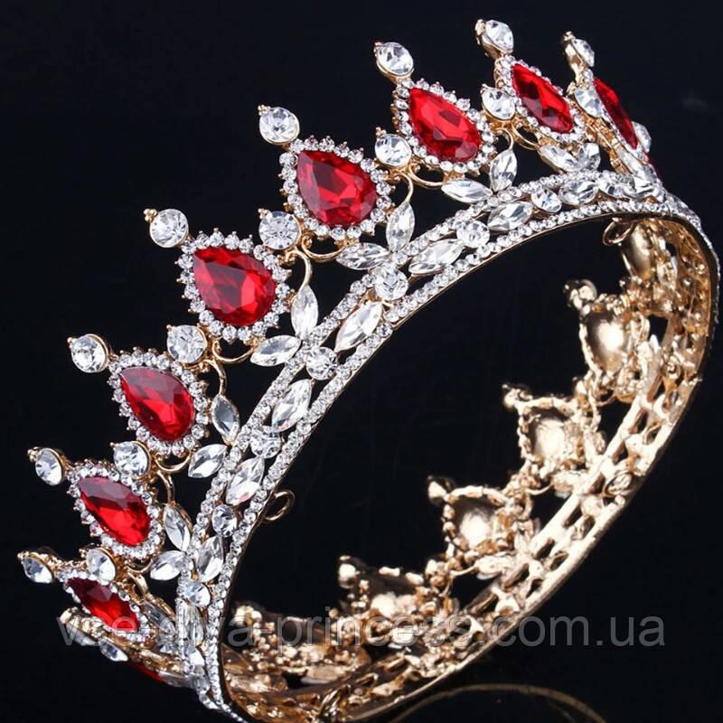 Кругла корона в золоті з червоними камінцями, діадема, тіара, висота 5,5 див.